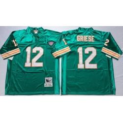 Men Miami Dolphins 12 Bob Griese Aqua M&N Throwback Jersey