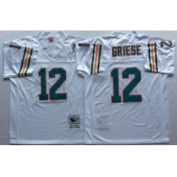 Men Miami Dolphins 12 Bob Griese White M&N Throwback Jersey