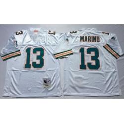 Men Miami Dolphins 13 Dan Marino White M&N Throwback Jersey