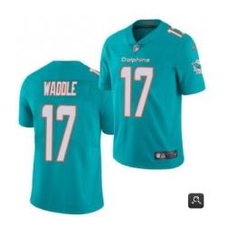 Men Miami Dolphins 17 Jaylen Waddle Aqua 2021 Vapor Untouchable Limited Stitched NFL Jersey