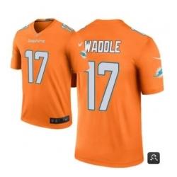 Men Miami Dolphins 17 Jaylen Waddle Orange 2021 Vapor Untouchable Limited Stitched NFL Jersey