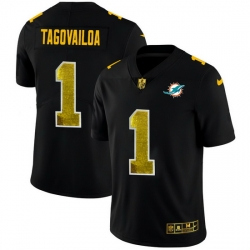Miami Dolphins 1 Tua Tagovailoa Men Black Nike Golden Sequin Vapor Limited NFL Jersey