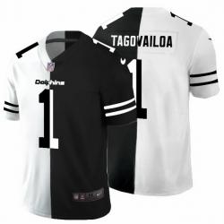Miami Dolphins 1 Tua Tagovailoa Men Black V White Peace Split Nike Vapor Untouchable Limited NFL Jersey