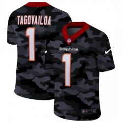 Miami Dolphins 1 Tua Tagovailoa Men Nike 2020 Black CAMO Vapor Untouchable Limited Stitched NFL Jersey