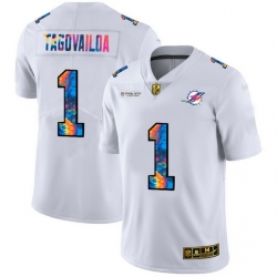 Miami Dolphins 1 Tua Tagovailoa Men White Nike Multi Color 2020 NFL Crucial Catch Limited NFL Jersey