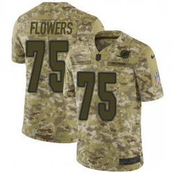 Nike Dolphins 75 Ereck Flowers Camo Men Stitched NFL Limited 2018 Salute To Service Jersey