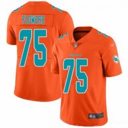Nike Dolphins 75 Ereck Flowers Orange Men Stitched NFL Limited Inverted Legend Jersey