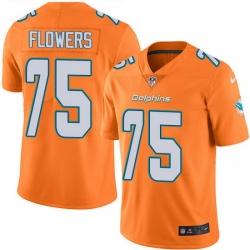 Nike Dolphins 75 Ereck Flowers Orange Men Stitched NFL Limited Rush Jersey