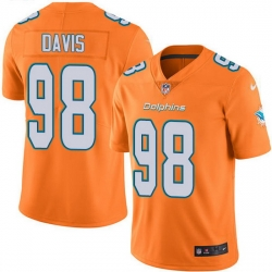 Nike Dolphins 98 Raekwon Davis Orange Men Stitched NFL Limited Rush Jersey