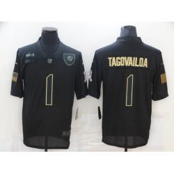 Nike Miami Dolphins 1 Tua Tagovailoa Black 2020 Salute To Service Limited Jersey