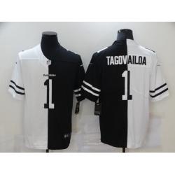 Nike Miami Dolphins 1 Tua Tagovailoa Black And White Split Vapor Untouchable Limited Jersey