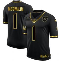 Nike Miami Dolphins 1 Tua Tagovailoa Black Gold 2020 Salute To Service Limited Jersey