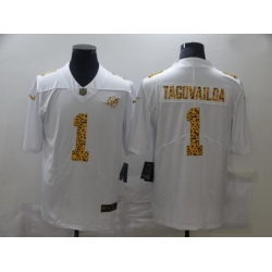 Nike Miami Dolphins 1 Tua Tagovailoa White Leopard Vapor Untouchable Limited Jersey