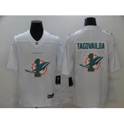 Nike Miami Dolphins 1 Tua Tagovailoa White Shadow Logo Limited Jersey