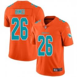 Nike Miami Dolphins 26 Salvon Ahmed Orange Men Stitched NFL Limited Inverted Legend Jersey