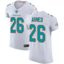 Nike Miami Dolphins 26 Salvon Ahmed White Men Stitched NFL New Elite Jersey