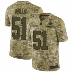 Men New Orleans Saints 51 Sam Mills 2018 Salute to Service Jersey
