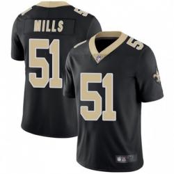 Men New Orleans Saints 51 Sam Mills Black Vapor Untouchable Limited Jersey
