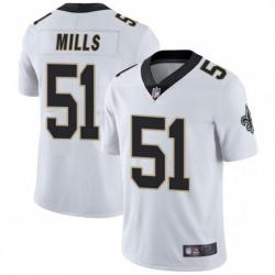 Men New Orleans Saints 51 Sam Mills White Vapor Untouchable Limited Jersey