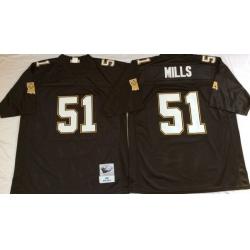Men New Orleans Saints 51 Sam Smills Black M&N Throwback Jersey