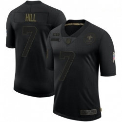 Men New Orleans Saints 7 Taysom Hill Black 2020 Salute To Service Limited Jersey