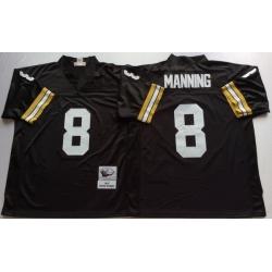 Men New Orleans Saints 8 Archie Manning Black M&N Throwback Jersey