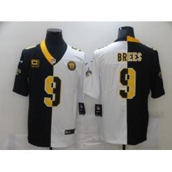 Men Nike New Orleans Saints Drew Brees 9 Black White Split Limited Jersey