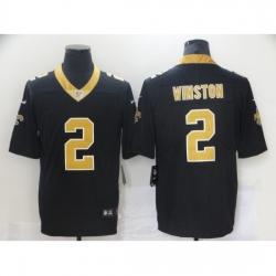 Men's New Orleans Saints #2 Jameis Winston Black Limited Jersey
