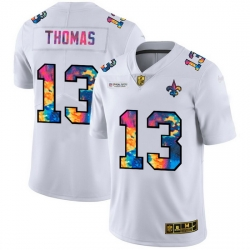 New Orleans Saints 13 Michael Thomas Men White Nike Multi Color 2020 NFL Crucial Catch Limited NFL Jersey