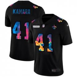New Orleans Saints 41 Alvin Kamara Men Nike Multi Color Black 2020 NFL Crucial Catch Vapor Untouchable Limited Jersey