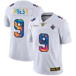 New Orleans Saints 9 Drew Brees Men White Nike Multi Color 2020 NFL Crucial Catch Limited NFL Jersey