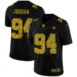 New Orleans Saints 94 Cameron Jordan Men Nike Leopard Print Fashion Vapor Limited NFL Jersey Black