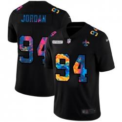 New Orleans Saints 94 Cameron Jordan Men Nike Multi Color Black 2020 NFL Crucial Catch Vapor Untouchable Limited Jersey