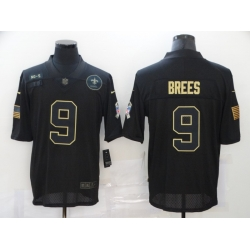 Nike New Orleans Saints 9 Drew Brees Black 2020 Salute To Service Limited Jersey
