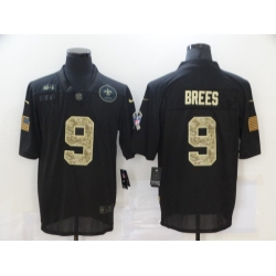Nike New Orleans Saints 9 Drew Brees Black Camo 2020 Salute To Service Limited Jersey