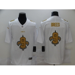 Nike New Orleans Saints 9 Drew Brees White Shadow Logo Limited Jersey