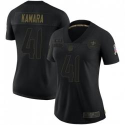 Women New Orleans Saints 41 Alvin Kamara Black Salute To Service Limited Jersey