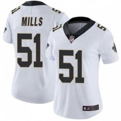 Women New Orleans Saints 51 Sam Mills White Vapor Untouchable Limited Jersey