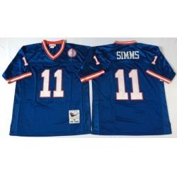 Men New York Giants 11 Phil Simms Blue M&N Throwback Jersey