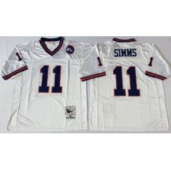 Men New York Giants 11 Phil Simms White M&N Throwback Jersey