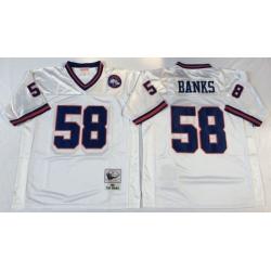 Men New York Giants 58 Carl Banks White M&N Throwback Jersey