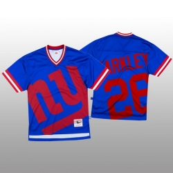 NFL New York Giants 26 Saquon Barkley Blue Men Mitchell  26 Nell Big Face Fashion Limited NFL Jersey