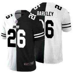New York Giants 26 Saquon Barkley Men Black V White Peace Split Nike Vapor Untouchable Limited NFL Jersey