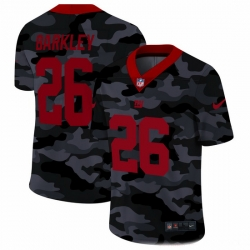New York Giants 26 Saquon Barkley Men Nike 2020 Black CAMO Red Vapor Untouchable Limited Stitched NFL Jersey