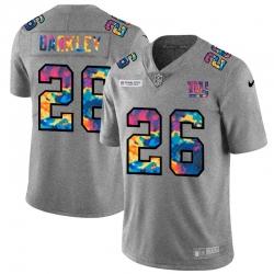 New York Giants 26 Saquon Barkley Men Nike Multi Color 2020 NFL Crucial Catch NFL Jersey Greyheather