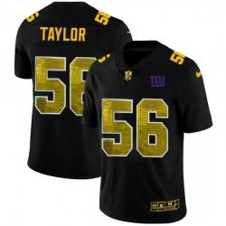 New York Giants 56 Lawrence Taylor Men Black Nike Golden Sequin Vapor Limited NFL Jersey