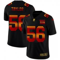 New York Giants 56 Lawrence Taylor Men Black Nike Red Orange Stripe Vapor Limited NFL Jersey