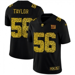 New York Giants 56 Lawrence Taylor Men Nike Leopard Print Fashion Vapor Limited NFL Jersey Black