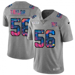 New York Giants 56 Lawrence Taylor Men Nike Multi Color 2020 NFL Crucial Catch NFL Jersey Greyheather