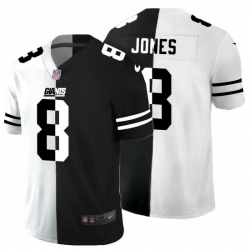 New York Giants 8 Daniel Jones Men Black V White Peace Split Nike Vapor Untouchable Limited NFL Jersey